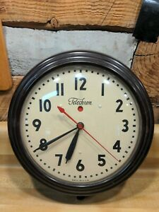 Vintage Telechron Electric Wall Clock 1H1308 as Is parts only
