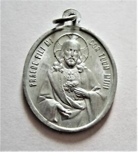 Vintage Holy Sacrament & Sacred Heart Medal Adoremus In Aeturnum
