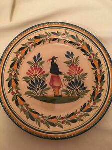"""French """"QUIMPER"""" VINTAGE CHARGER Plate 1930's  Fisherman, Hand Painted & Signed"""