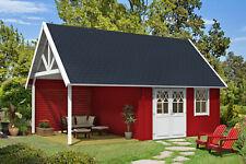 Schwedenhaus 44 mit Anbau Holz 40 mm 418x418+300 cm Satteldach Blockhaus Laube