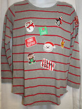 NEW WOMENS PLUS SIZE 1X CHRISTMAS THEME T SHIRT WITH CHRISTMAS PATCHES ON FRONT
