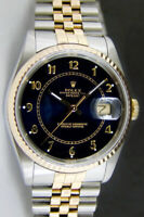 Rolex Datejust Yellow Gold & Steel Blue Arabic Dial 16233 Jubilee - WATCH CHEST