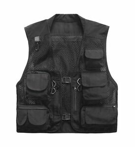 Herebuy8 Men's Mesh Fishing Vest Multi Pockets Photography Outdoor Jacket Black