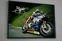 John Mcguinness Signed Motor Cycle Framed Canvas Print Signed