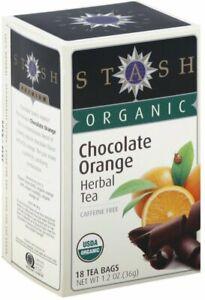 Organic Chocolate Orange Herbal Tea by Stash, 18 tea bag 1 Box