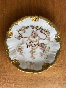 "Limoges Plate.  antique porcelain. Gold Trim. Cherub. 6"" Saucer."