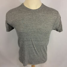 Vintage 80s Rayon Tri Blend Heather Gray Blank Plain Russell Gym T Shirt USA M