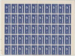 Stamps 1955 Australia 3&1/2d USA friendship monument half pane block of 50, MUH