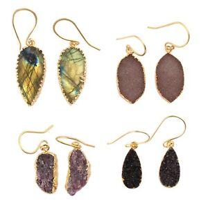 Lot 4 Pc Labradorite, Druzy, Ruby Yellow Gold Plated Earrings For Women Girls