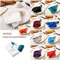 6/12pcs Polyester Cotton Napkins Table Linen Wedding Hotel Party Reuseable Cloth
