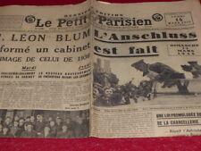 """[PRESSE AVANT-GUERRE] """"LE PETIT PARISIEN"""" 14 MARS 1938 / Hitler Anschluss Blum"""