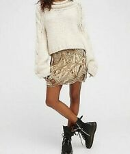 NEW Free People Sequin Mini Skirt Size 4 Gold
