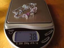 14ct white gold diamond pink tourmaline & kunzite pendant & 9ct white gold chain