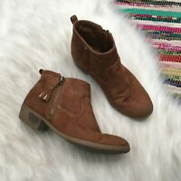 Cat & Jack Girls Faux Suede Ankle Booties US Youth 4 Camel Tan Brown Tassel