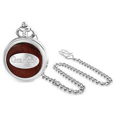 Grandpa Grandfather Faux Wood Roman Numeral Pocket Watch Plated Alloy