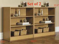 Bookcase 3 Shelf WIDE Set of 2 Oak Bookshelf Adjustable Shelving Storage Home