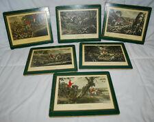 SET OF 6 VINTAGE ANTIQUE LADY CLARE PLACEMATS FOX HUNTING PUBLISHED JAN 1798