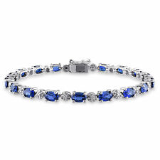 Amour Created Blue sapphire and Diamond Accent Tennis Bracelet