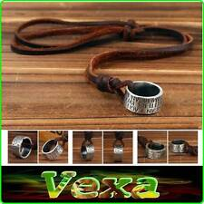 SURFER AUSTRALIA New Mens Necklace Pendant Ring Genuine Leather Thong Brown NK13