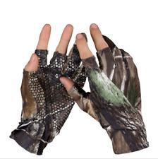 1 Pair Waterproof Anti-slip Gloves 3 Cut Fingers Camo Gloves Fishing Hunting