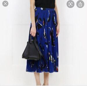 proenza schouler Silk Pleated Printed Blue Skirt US 6 AU 10 Designer Rrp $700