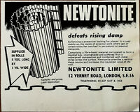 Newtonite Limited Defeats Rising Damp Protective Backing For Plaster Advert 1969