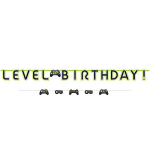 Level Up Gamers Controller Birthday Party Banner Bunting Party Decoration Kit