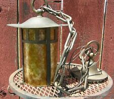 Antique Mission or Arts Crafts Era Brass & Mica Lantern Light circa 1910