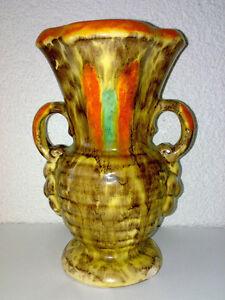 Vase Henkelvase 30s 40s Art Deco URANGLASUR URANIUM GLAZE Gräfenroda ? H 22,5 cm