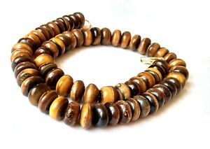 """13.5-14.5mm Natural Tiger Eys""""s Stone Smooth Rondelle Beaded Jewelry Necklace"""