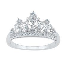 10k White Gold Round Diamond Womens Crown Tiara Cocktail Band Ring 1/5 Cttw
