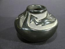 Early Francis Salazar, Santa Clara Pueblo Black Pottery Vase, Incised Decoration