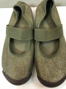 NWOB KEEN Women's Sienna Canvas Green Gold Mary Jane Slip-on Sneakers Size 8