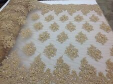 Magnificent Design Beaded Mesh Lace Fabric Bridal Wedding Gold. Sold By The Yard