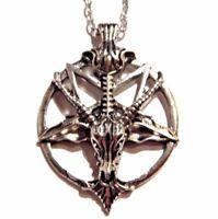 SILVER BAPHOMET PENDANT goat inverted pentagram pentacle satan devil necklace 4E