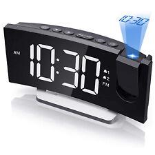 Radiowecker mit Projektion LED Funkuhr USB FM Uhrenradio Wecker 5,0 Zoll Dimmbar