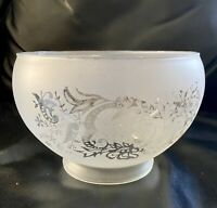 1930s Antique Scalloped Crystal Handblown Etched Frosted Glass Lamp Shade 3 7/8""