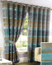 "Derry Teal Modern Ring Top Luxuriously Lined Embellished Curtains 90"" x 72"""