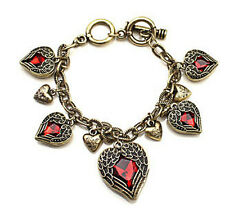 Antique style 18k yellow gold plated red CZ heart woman men bracelet BL-A182