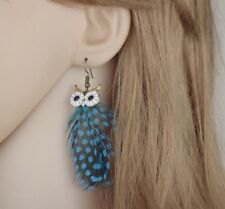 Boho Festival Party Boutique Uk Nee Turquoise Feather Owl Tassel Fashion Earring