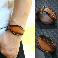 Punk Unisex Men Wide Leather Bracelet Cuff Wrap Wristband Surfer Bangle Jewelry