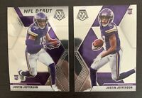 2020 Mosaic JUSTIN JEFFERSON rookie NFL Debut Base Vikings 2 Card Lot Clean Hot