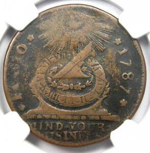 1787 Fugio Cent 1C Coin (8 Point Star Variety) - Certified NGC Fine Details