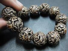 Stretchy Dark Color Delicate Carved Dragon Phoenix Bone Powder Biker Bracelet NG