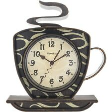 "Westclox 8"" Analog Quartz Coffee Cup Brown Wall Clock 32038"