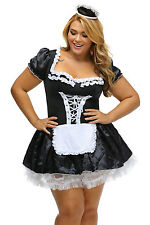 18 Womens Ladies Plus Sexy French Maid Fancy Dress Fun Party Hen Costume Outfit