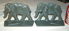 Antique Geometric Art Deco Porcelain Cast Iron Elephant Statue Bookends Doorstop
