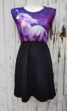 Purple Galaxy Unicorn Black Skater Dress - Size 10 12 14