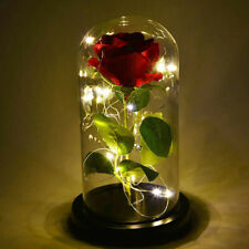 Artificial Rose LED Light Home Decor In Glass Dome Lamp Romantic Gift Home Decor