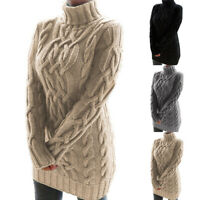 Retro Mode Damen Langärmelig Strick Minikleid Rollkragen Pullover Zopfmuster D